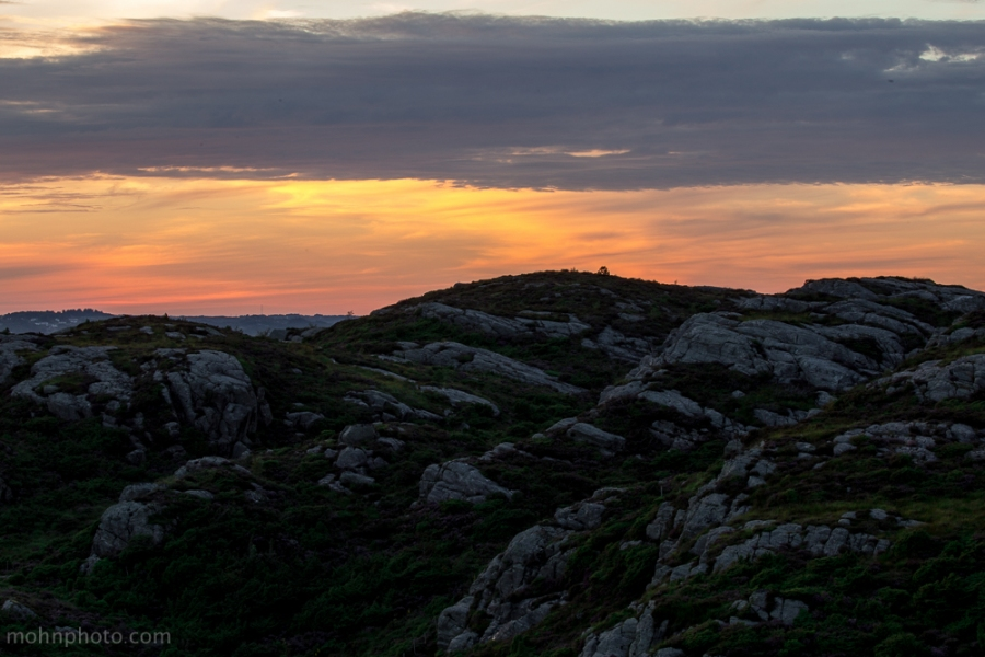 Solnedgang i Sotra Fjell Hordaland Norge