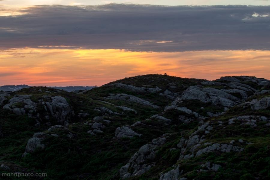 Solnedgang i Sotra Fjell Hordaland Norge