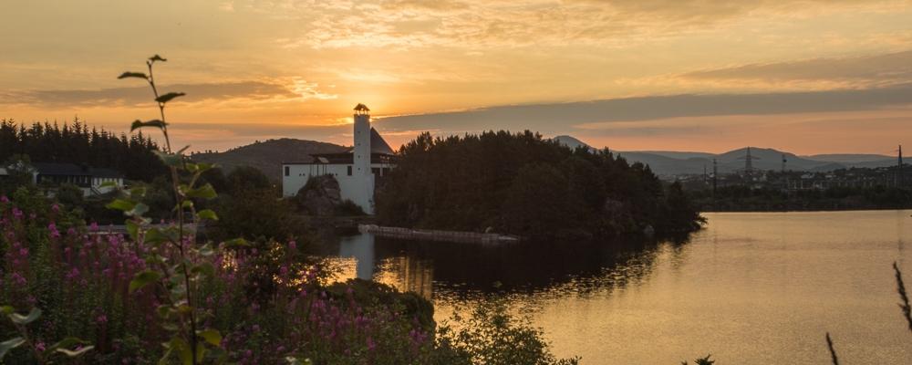 Foldnes church Fjell Sotra in sunrise