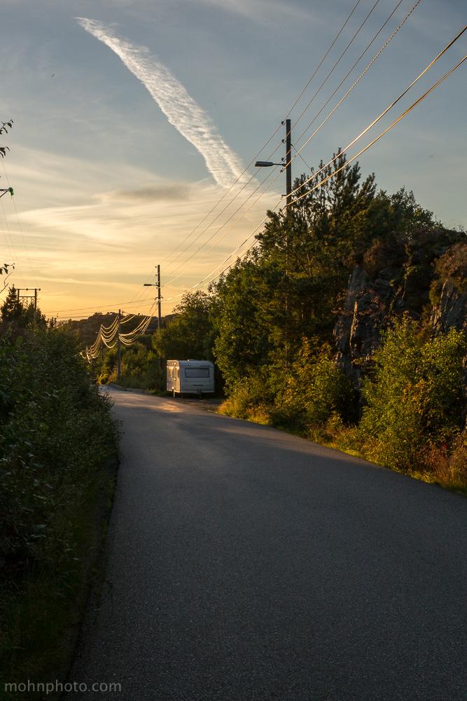 Trailer in sunset